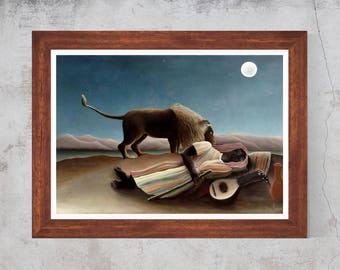 Henri Rousseau The Sleeping Gypsy 1897 Painting Art Canvas Print