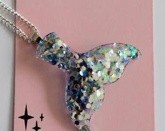 Handmade  Glitter Resin Mermaid Tail Pendant/Necklace