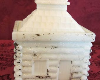 Antique Hand Painted Milk Glass Mustard Containers/Bank