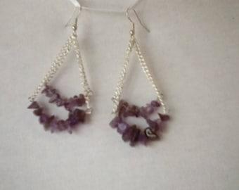 Amethyst chips chandelier earrings