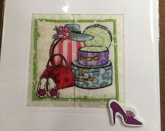 Hand Made Quilted Card Birthday Thank You Thinking Of You Vintage Fashion Bags