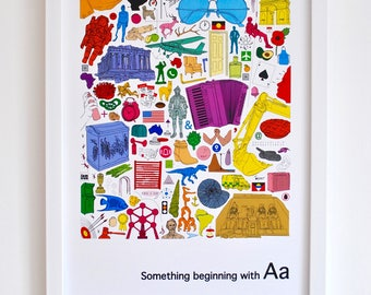 Personalised nursery wall art, Alphabet print, 'Something beginning with A' design