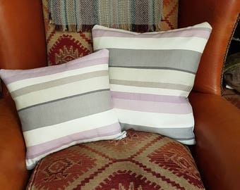 Purple & Grey Stripe Cushion Cover