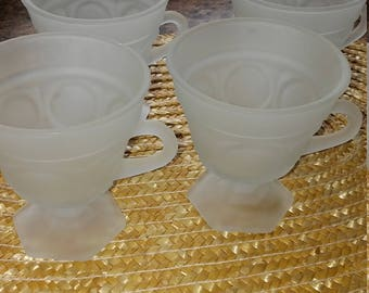 Frosted white pedestal cups