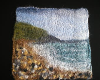 Pebble beach seascape wet felted wool picture