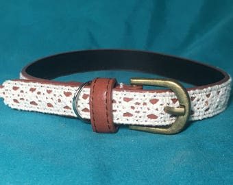 Pupcycled Upcycled White and Brown Small Crochet Lace Dog Collar