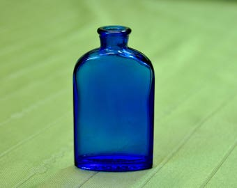 Vintage Cobalt Blue Bourjois 'Evening in Paris' Perfume Bottle