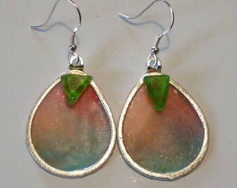 Sea Glass and Silk Earrings