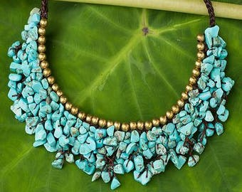 Turquoise Colored Calcite and Brass Beaded Necklace