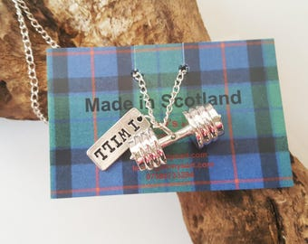 I will - dumbbell charm pendant necklace