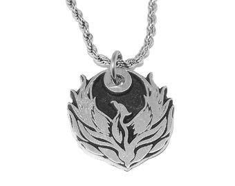 Phoenix Fire Bird Pagan Pendant Necklace with Chain