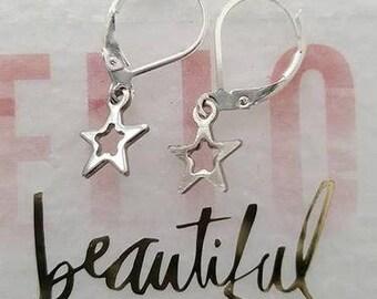 Handmade 925 Sterling Silver Star Earrings