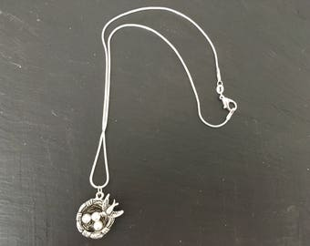 Silver plated birds nest necklace