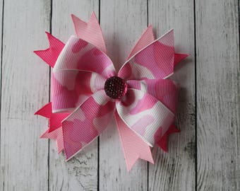 Pink Camouflage Sparkle Bow