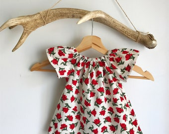 Baby girl summer dress / rose print baby dress / cotton baby dress / Peasant girls dress