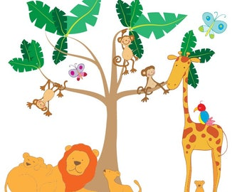 Wall sticker jungle tree with monkeys, lion and giraffe