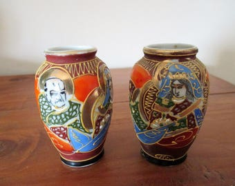 Antique Japanese vases, pair of vases, hand painted, Satsumaed vases, small vases, vintage vases, moriage