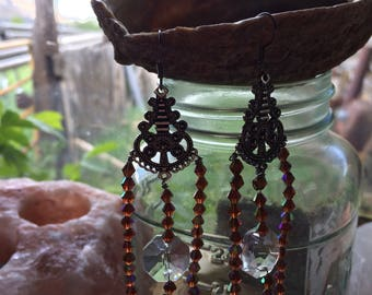 Chandelier earrings with chandelier crystals