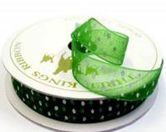 Dotted Organza , Reel 10mm x 7 metres - Holiday Green