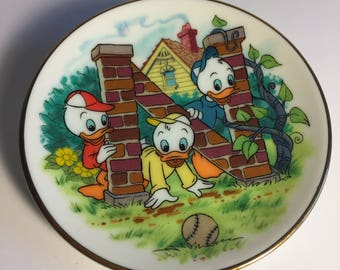 """Disney Letter N for Nephews (Huey, Dewey, Louie) Miniature Porcelain Plate—Vintage, Part of the """"Disney's Alphabet"""" Collection—1980s"""