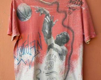 Vintage Micheal Jordan Full Print Double Side T Shirt Rare