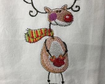 Reindeer with Scarf Tea Towel