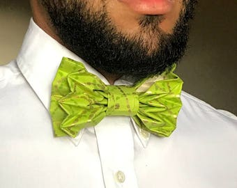 The Pioneer - Green & Gold Origami Bow Tie