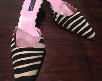 Kate Spade Zebra Stripe Kitten Heels