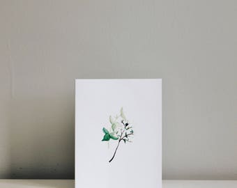 Leaves and Baby Breaths Card