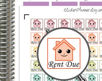 Rent Due Stickers Rent Due Planner Stickers Kawaii Stickers Kawaii Planner Happy Planner House Stickers House Planner ( i4D)