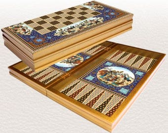 "Backgammon set travel foldable family board game set,Yenigun persian design20"""