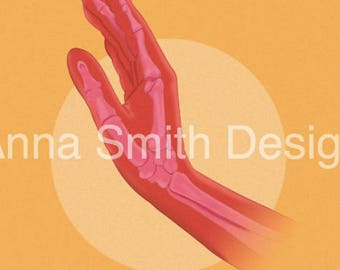 Anatomical skeleton hand design A4 print