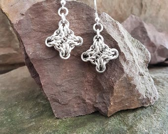 Chainmaille earrings aluminium