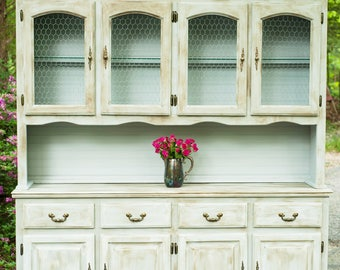Farmhouse Dining Room Hutch with Chicken Wire