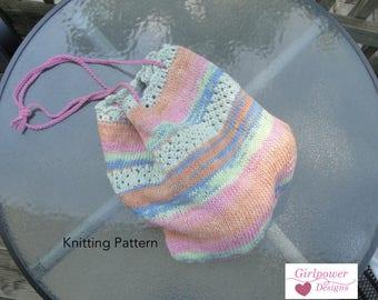 Shoulder Sling Bag Knitting Pattern, Market Shopping Bag, Tote Bag, Grocery Bag, Worsted Cotton Yarn