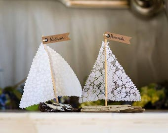 Personalised sailing boat wedding favours- Driftwood Boat - Handmade - Nautical - Reclaimed- Place cards