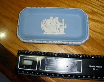 Wedgwood Jasperware Blue and Cream Trinket Tray Aesculapius in Center