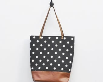 Canvas Tote - Black with White Polka Dot Print, Faux Leather Bottom, Leather Straps, Book Bag, Shopping Bag, Everyday Tote