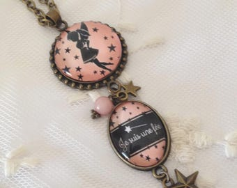 Cameo necklace fairy pink.
