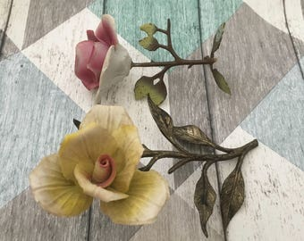 Pink And Yellow Porcelain Roses On Metal Stems by Capodimonte