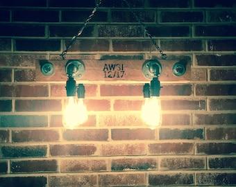 Vintage Rustic Industrial Steampunk reclaimed repurposed wood chandelier light