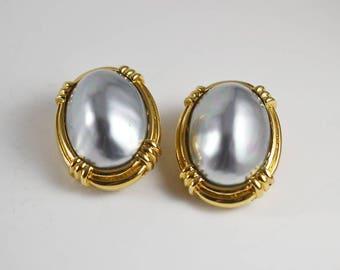 Ciner Earrings, Vintage Earrings, Clip Earrings, Clip On, Signed, Pearl, Gold Earrings, Old Fashioned, Retro, Earrings, Brand, Worth Ciner