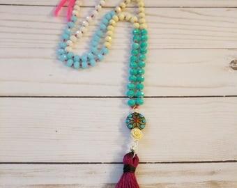 Beaded Multi Color Tassel Long  Thread Necklace