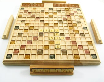 Scrabble wood Scrabble Board handmade Scrabble Game Art Scrabble Wooden Scrabble game Wood board Games Exclusive Scrabble game