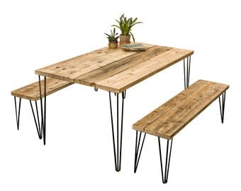 Dining Kitchen Table With Benches Handmade Industrial Rustic Furniture Reclaimed Wood Natural Finish