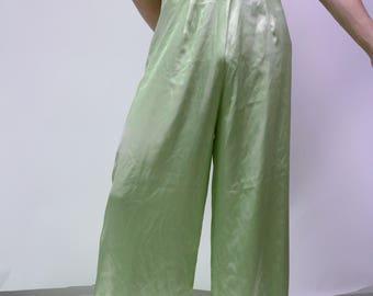 70s 80s Light Green Satin Bell Bottoms/ Lounge Pants/ Disco Pants
