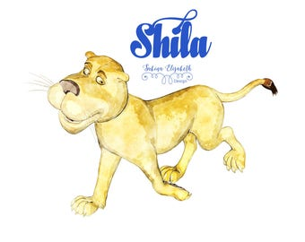 Lion Shila, beige, Watercolor Clipart, Baby, Child, Fun, Craft