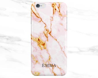 Personalised Name initials Pink Lava Marble Phone Case Cover for Apple iPhone 5 6 6s 7 8 Plus & Samsung Galaxy Customized Monogram