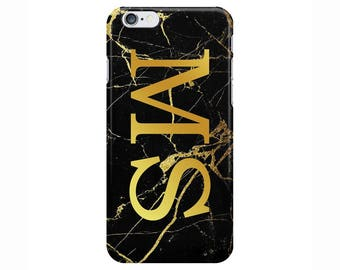 Personalised Name initials Black Gold Marble Phone Case Cover for Apple iPhone 5 6 6s 7 8 Plus & Samsung Galaxy Customized Monogram