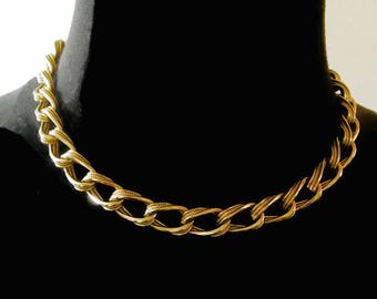 Vintage Monet Gold Tone Chunky Chain Link Choker